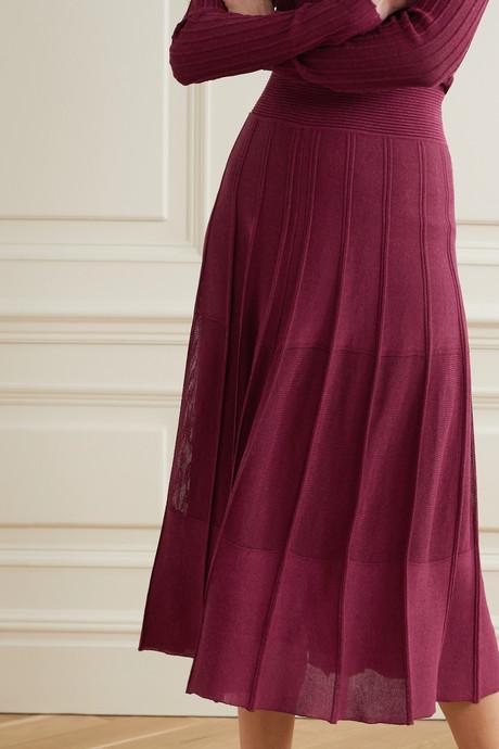 Pleated ribbed-knit midi skirt