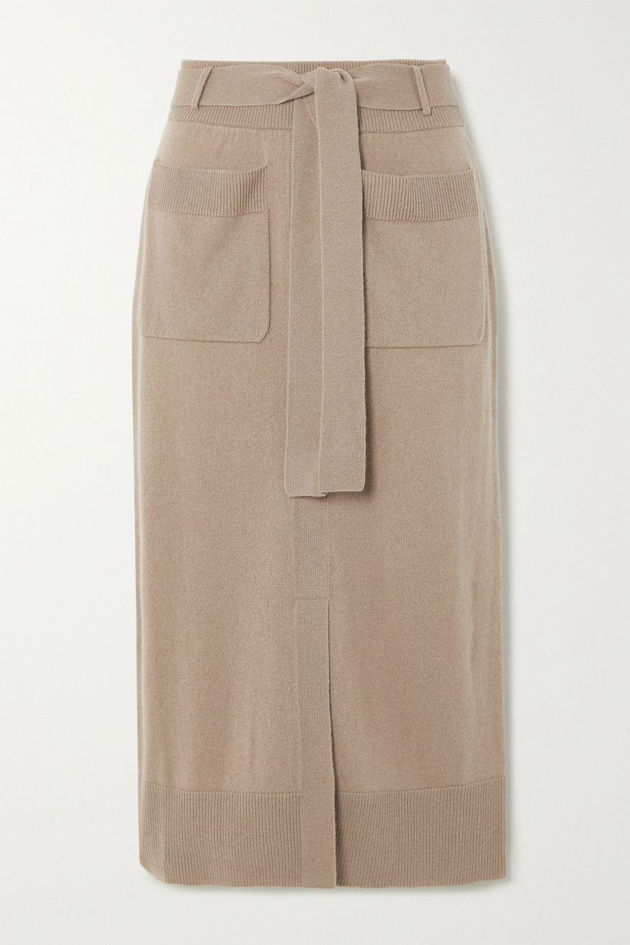 Agnona Belted cashmere-blend midi skirt
