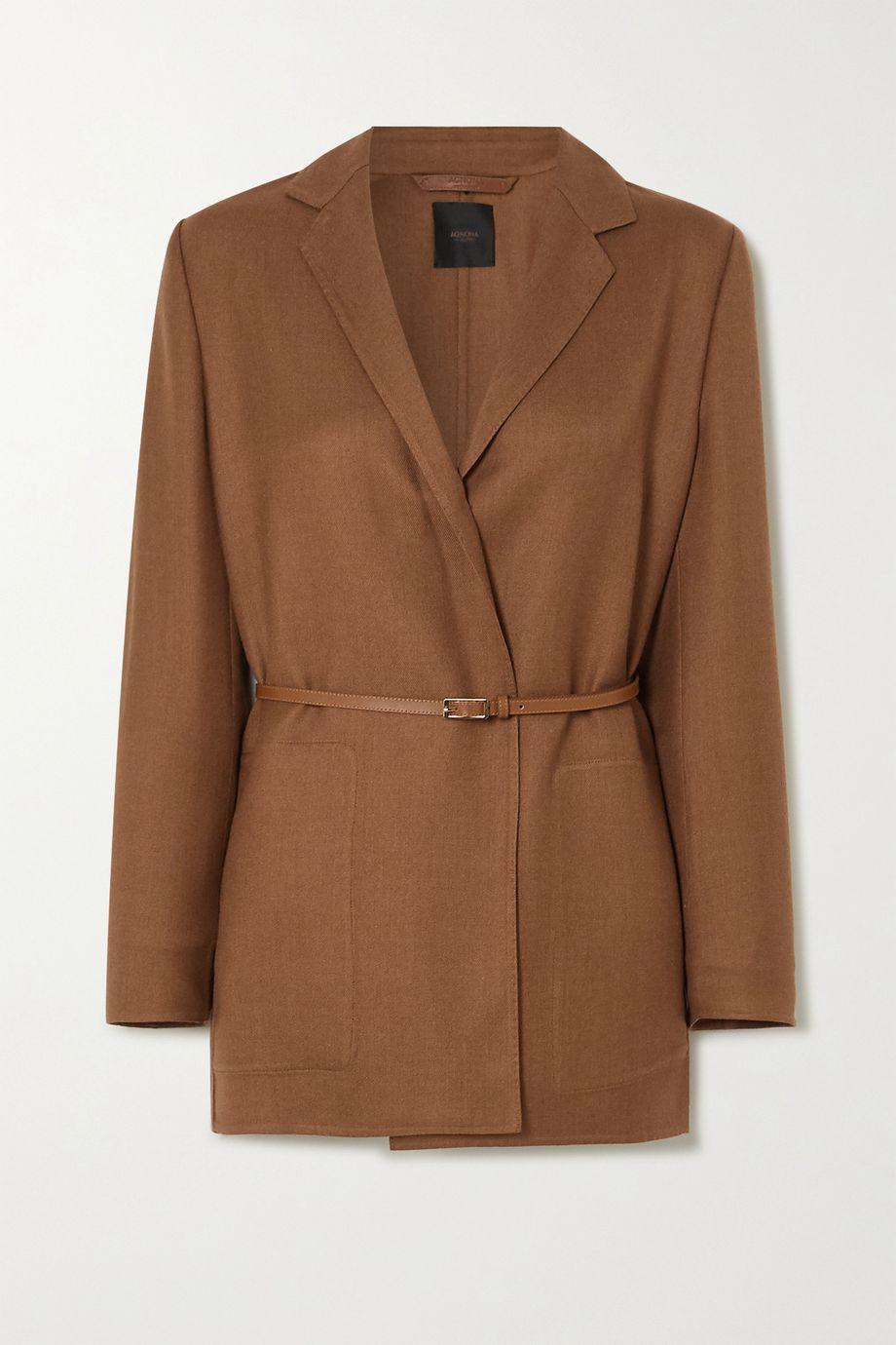 Agnona Eternals 配腰带羊绒真丝混纺斜纹布围裹式西装外套