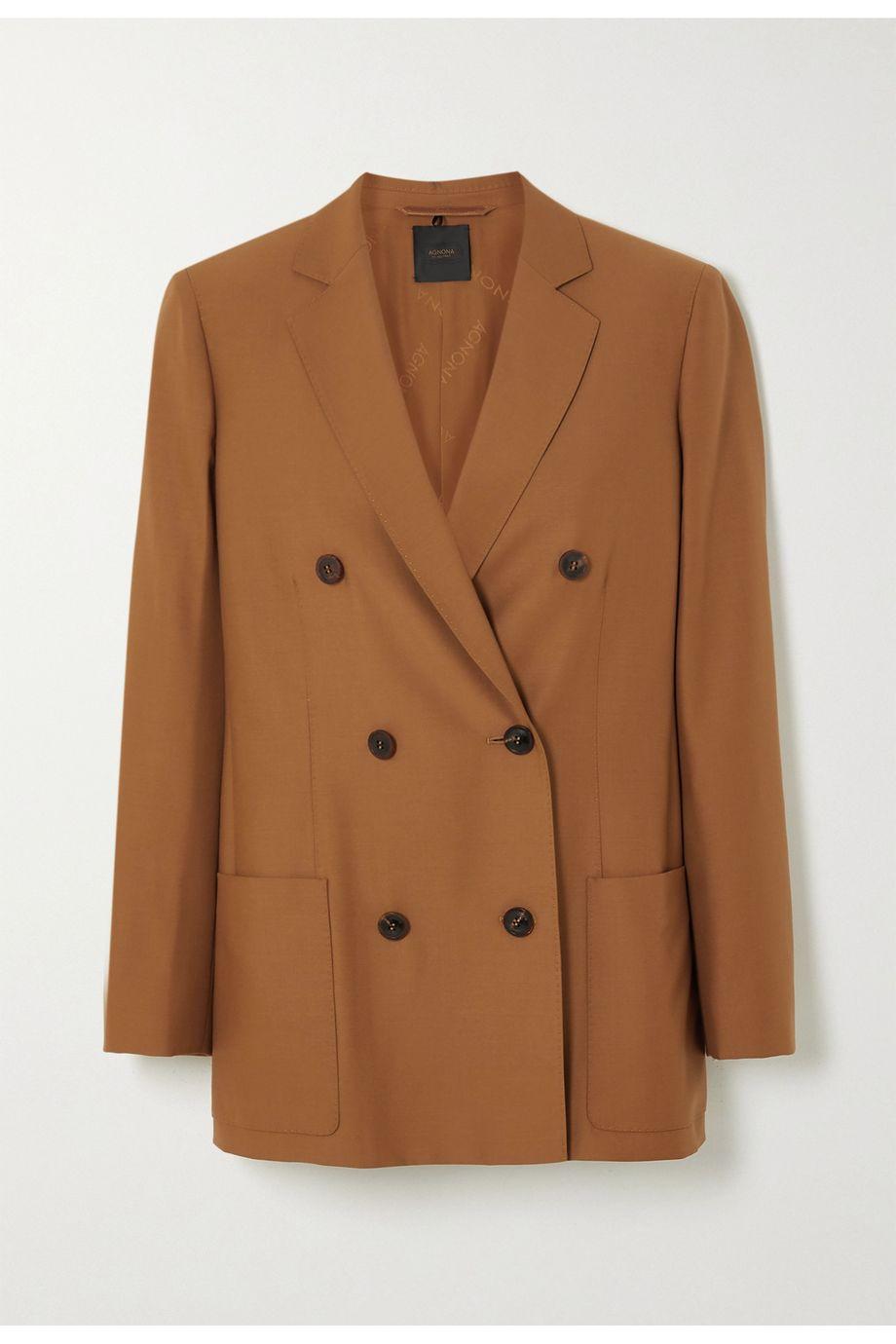 Agnona Eternals 双排扣羊毛斜纹布西装外套