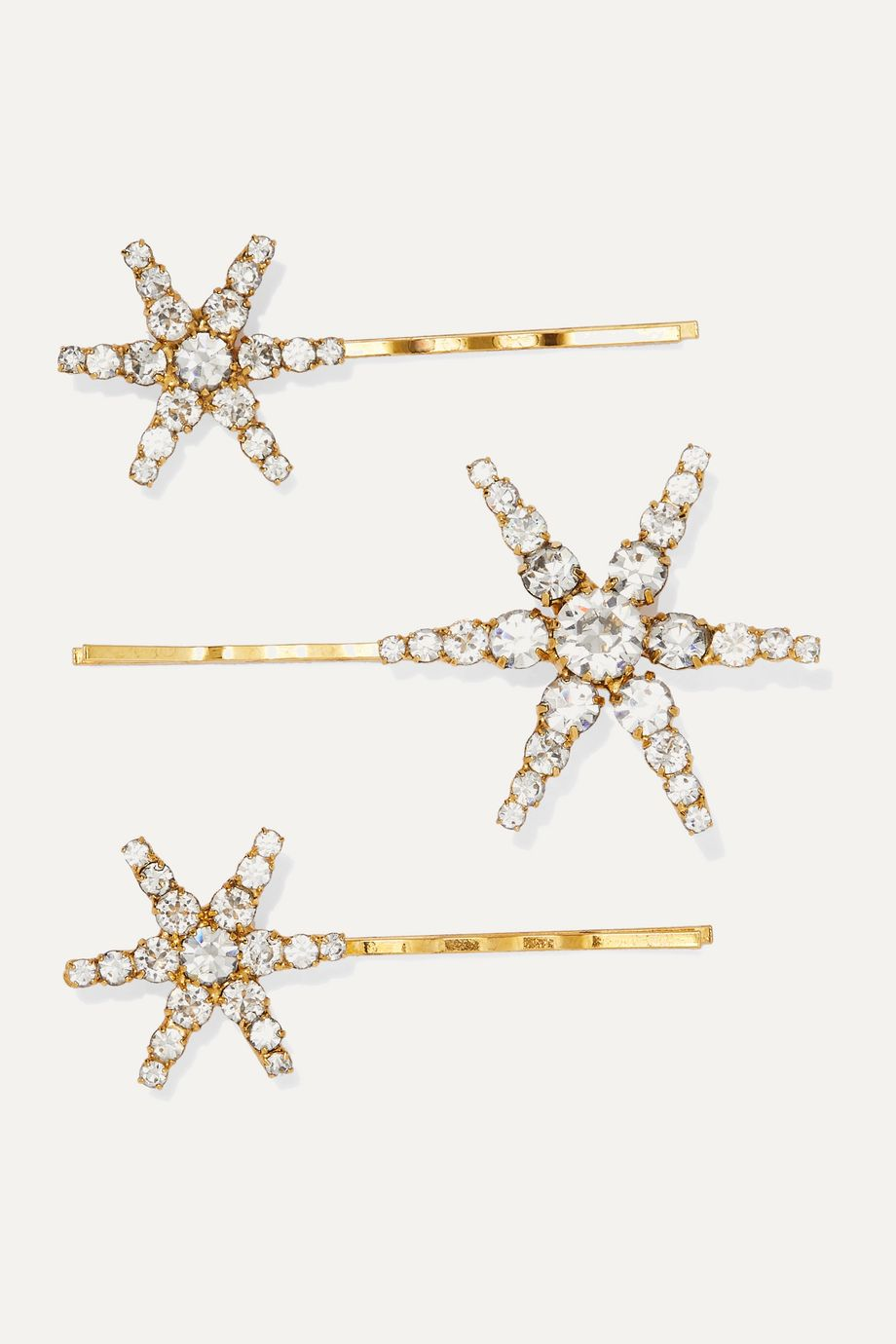 Jennifer Behr Aurelia set of three gold-tone crystal hair slides