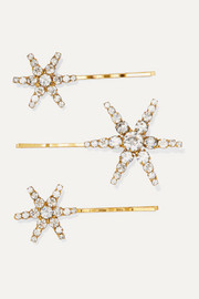 Aurelia set of three gold-tone crystal hair slides