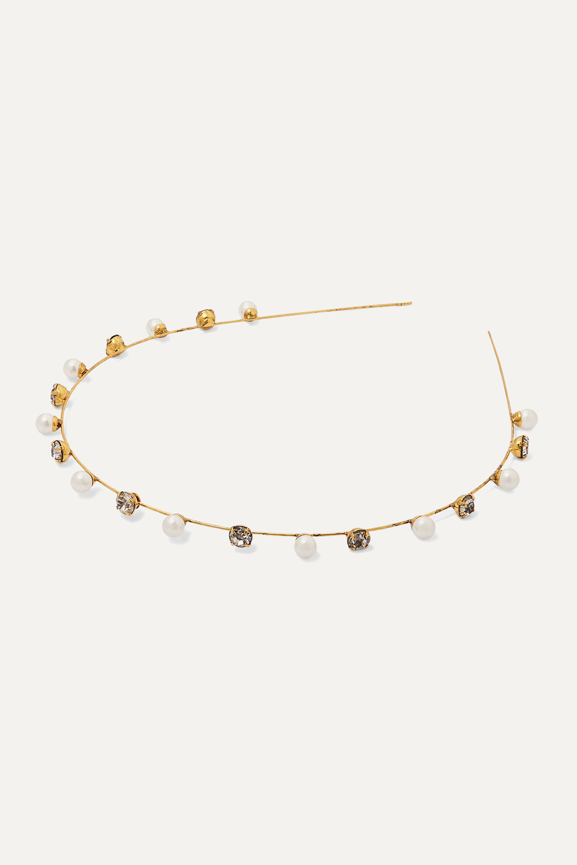 Jennifer Behr Ines gold-tone Swarovski pearl and crystal headband