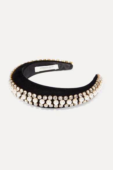 Jennifer Behr Accessories ELEANOR CRYSTAL AND FAUX PEARL-EMBELLISHED VELVET HEADBAND