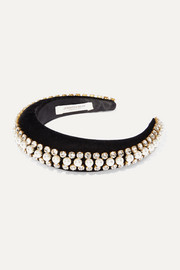 Eleanor crystal and faux pearl-embellished velvet headband
