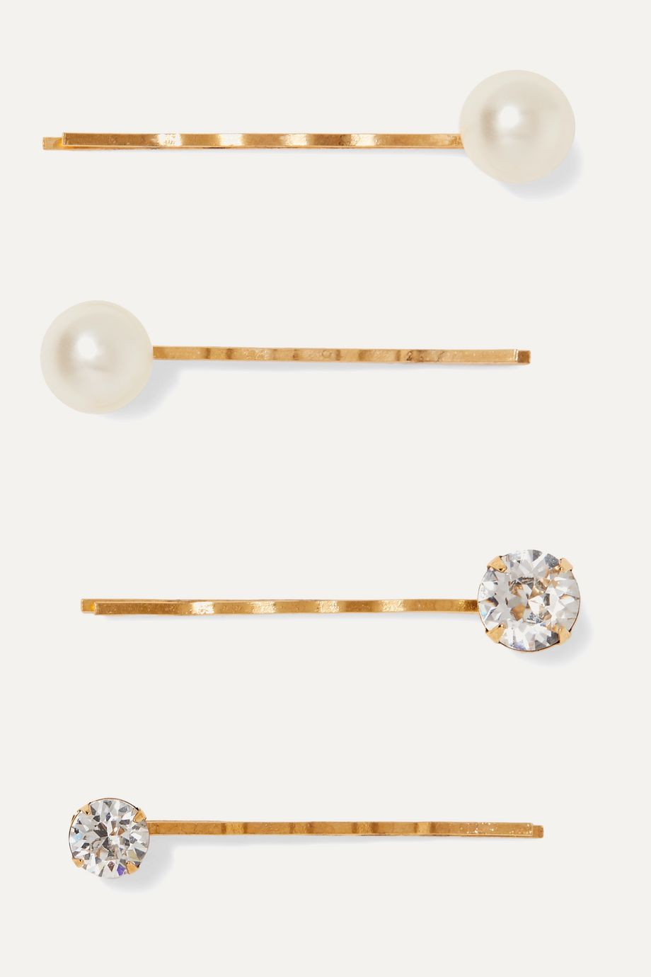 Jennifer Behr Gigi set of four gold-tone, Swarovski crystal and pearl hair slides