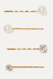 Gigi set of four gold-tone, Swarovski crystal and pearl hair slides