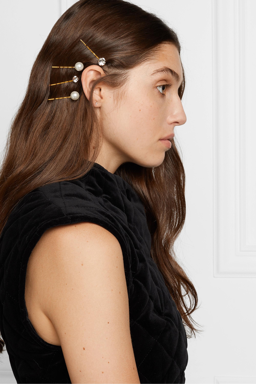 Jennifer Behr Gigi set of four gold-tone, Swarovski crystal and pearl hair slides