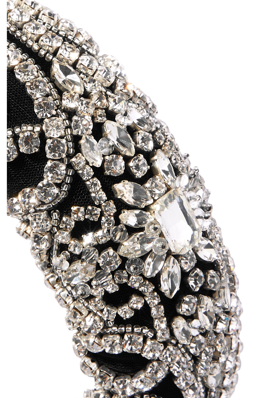 Jennifer Behr Reina crystal-embellished velvet headband