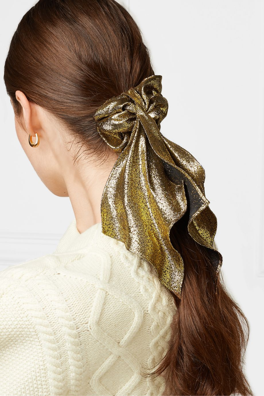 Jennifer Behr Silk and Lurex-blend hair tie