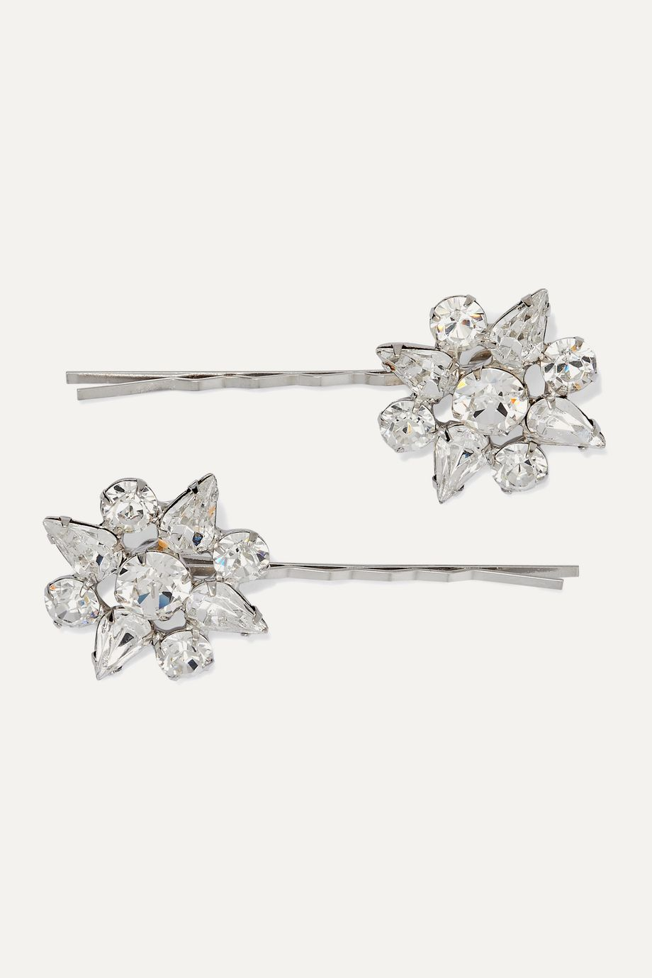 Jennifer Behr Valencia set of two rhodium-plated Swarovski crystal hair slides