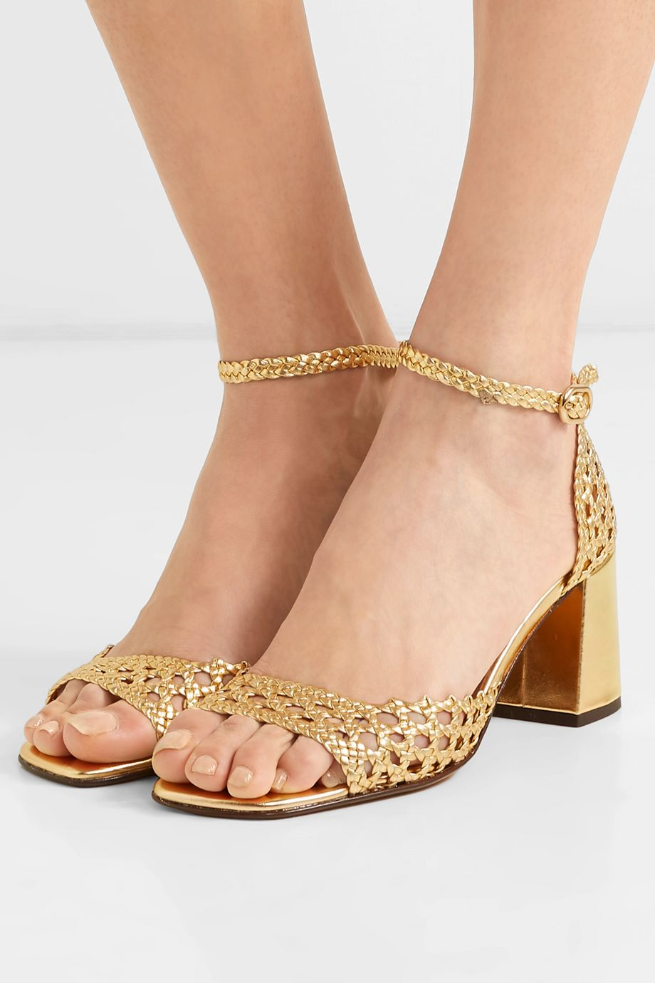 Souliers Martinez Procida woven metallic leather sandals