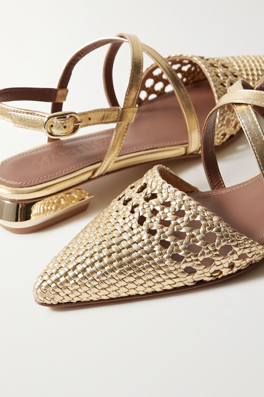 Souliers Martinez Es Verda woven metallic leather point-toe flats
