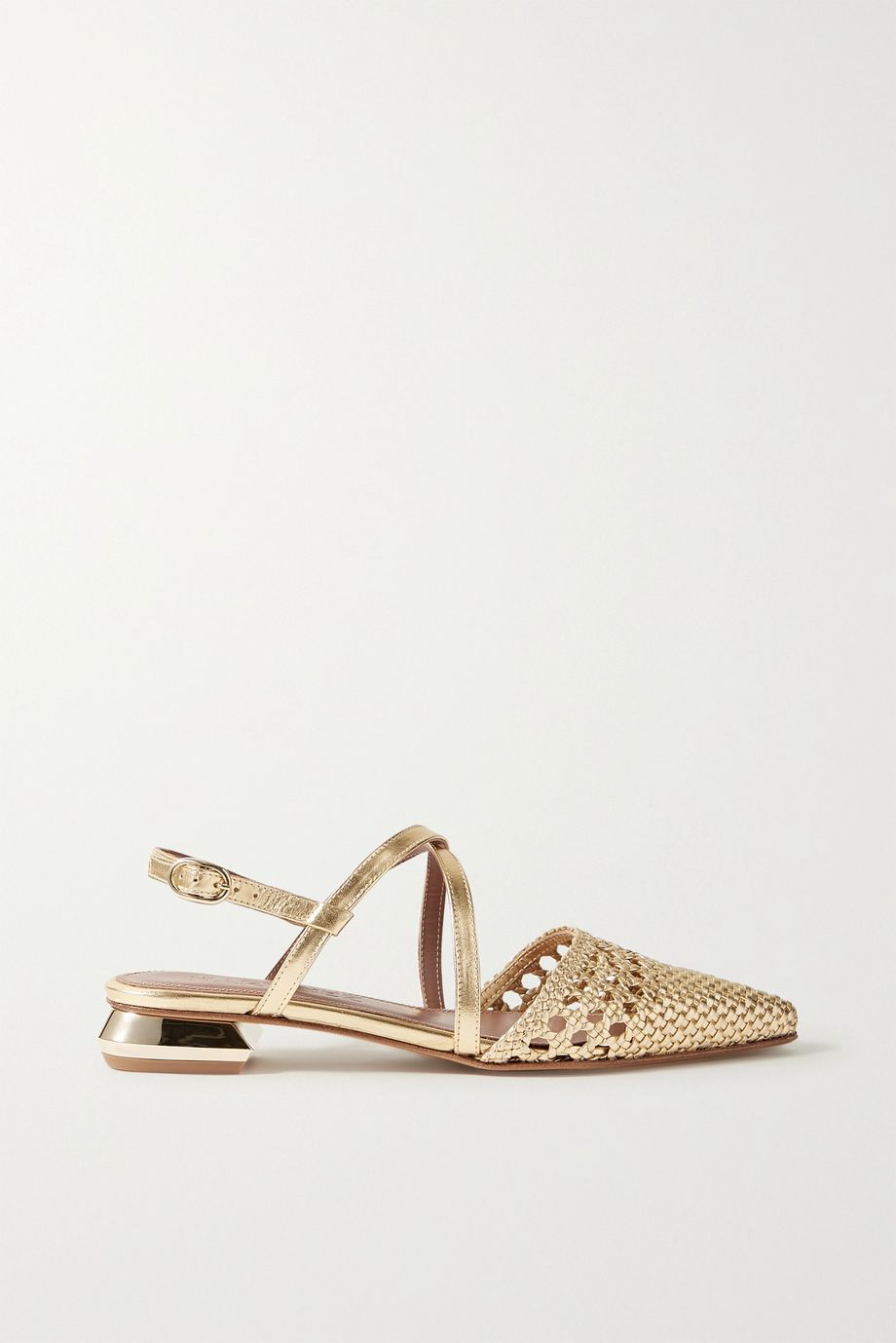 Souliers Martinez Es Verda woven metallic leather point-toe flats