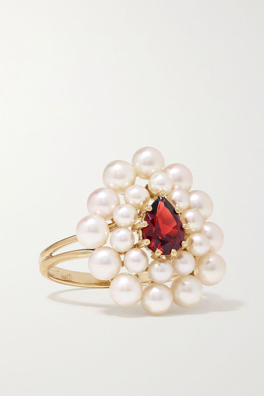 Anissa Kermiche Cotillion 14-karat gold, pearl and garnet ring