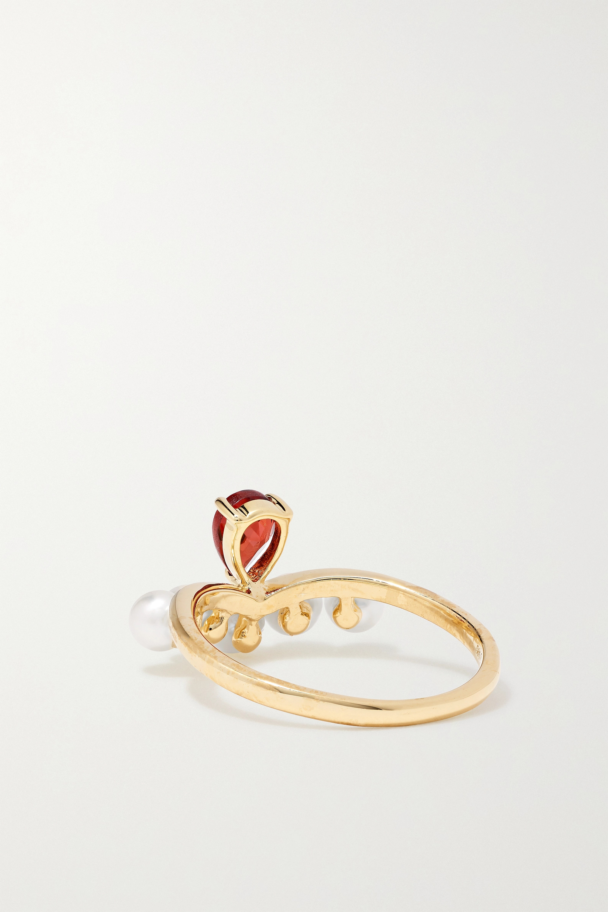 Anissa Kermiche Age of Innocence 14-karat gold, pearl and garnet ring