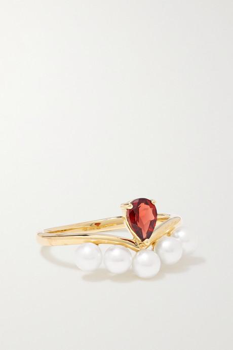 Gold Age of Innocence 14-karat gold, pearl and garnet ring   Anissa Kermiche Waz8bd