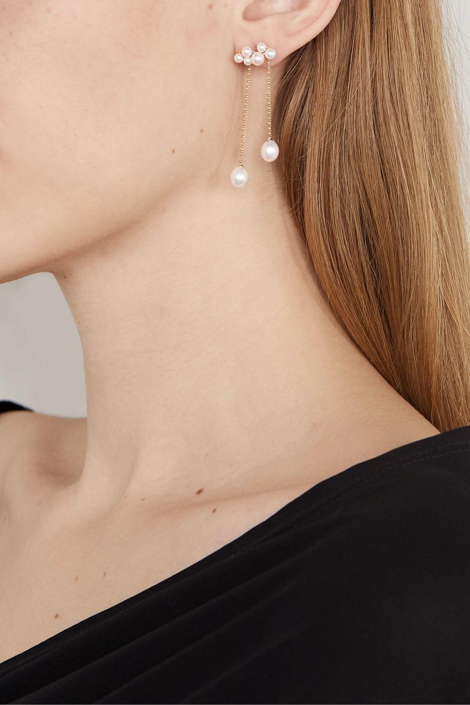 Anissa Kermiche Wuthering Heights 14-karat gold pearl earrings