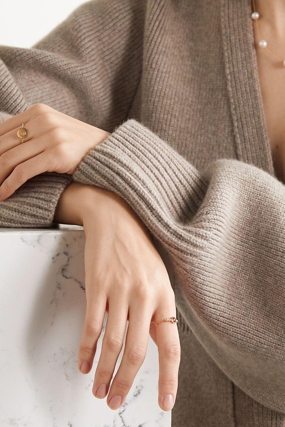 Anissa Kermiche 14-karat gold, garnet and diamond ring