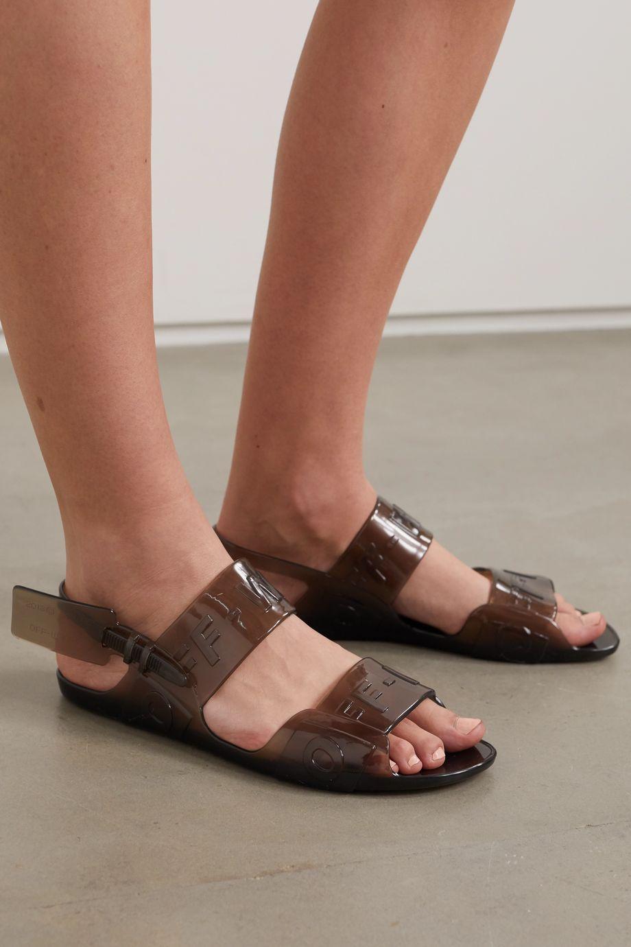 Off-White Logo-embossed PVC slingback sandals