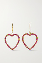 Jennifer Meyer Large Open Heart 18-karat gold ruby earrings
