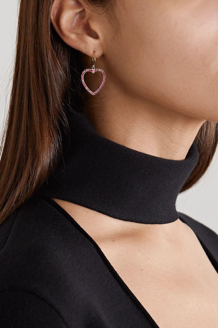 Jennifer Meyer Large Open Heart 18-karat gold ruby earrings
