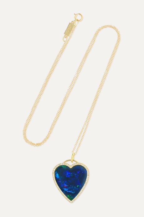 Gold Heart 18-karat gold, opal and diamond necklace | Jennifer Meyer q9gX4D