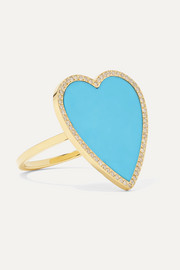Heart 18-karat gold, turquoise and diamond ring