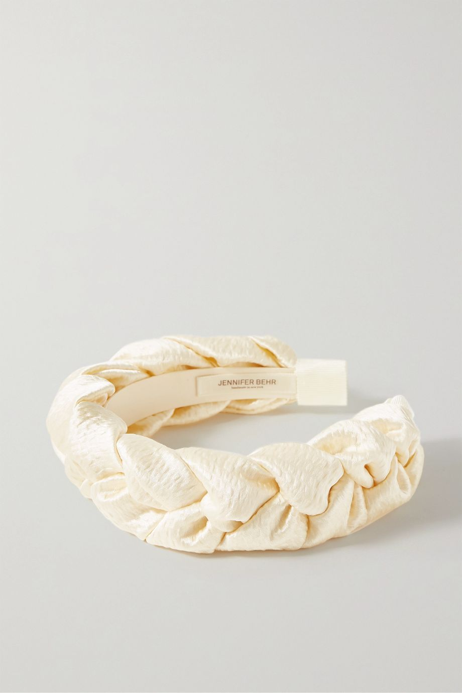 Jennifer Behr Lorelei braided hammered silk-satin headband