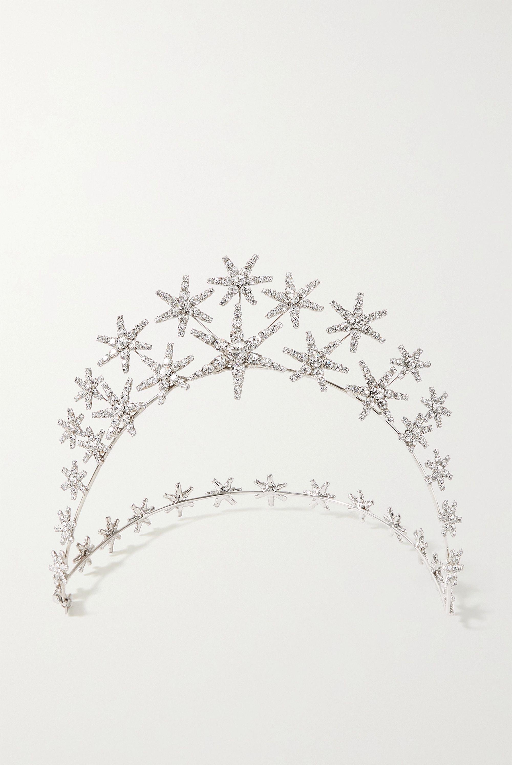 Jennifer Behr Vespera silver-tone Swarovski crystal headband