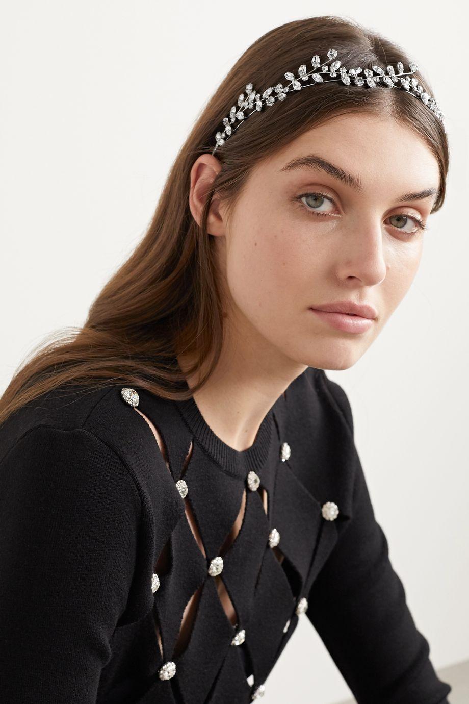 Jennifer Behr Vera Circlet silberfarbener Haarreif mit Swarovski-Kristallen