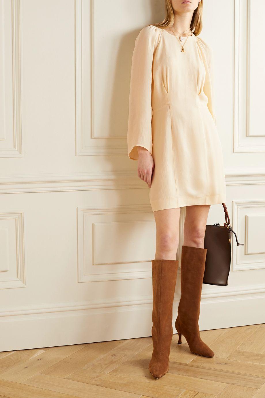 TOVE Marlen crinkled silk-georgette mini dress