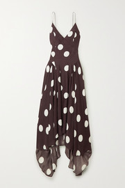 TOVE Maren open-back asymmetric polka-dot silk-crepon maxi dress