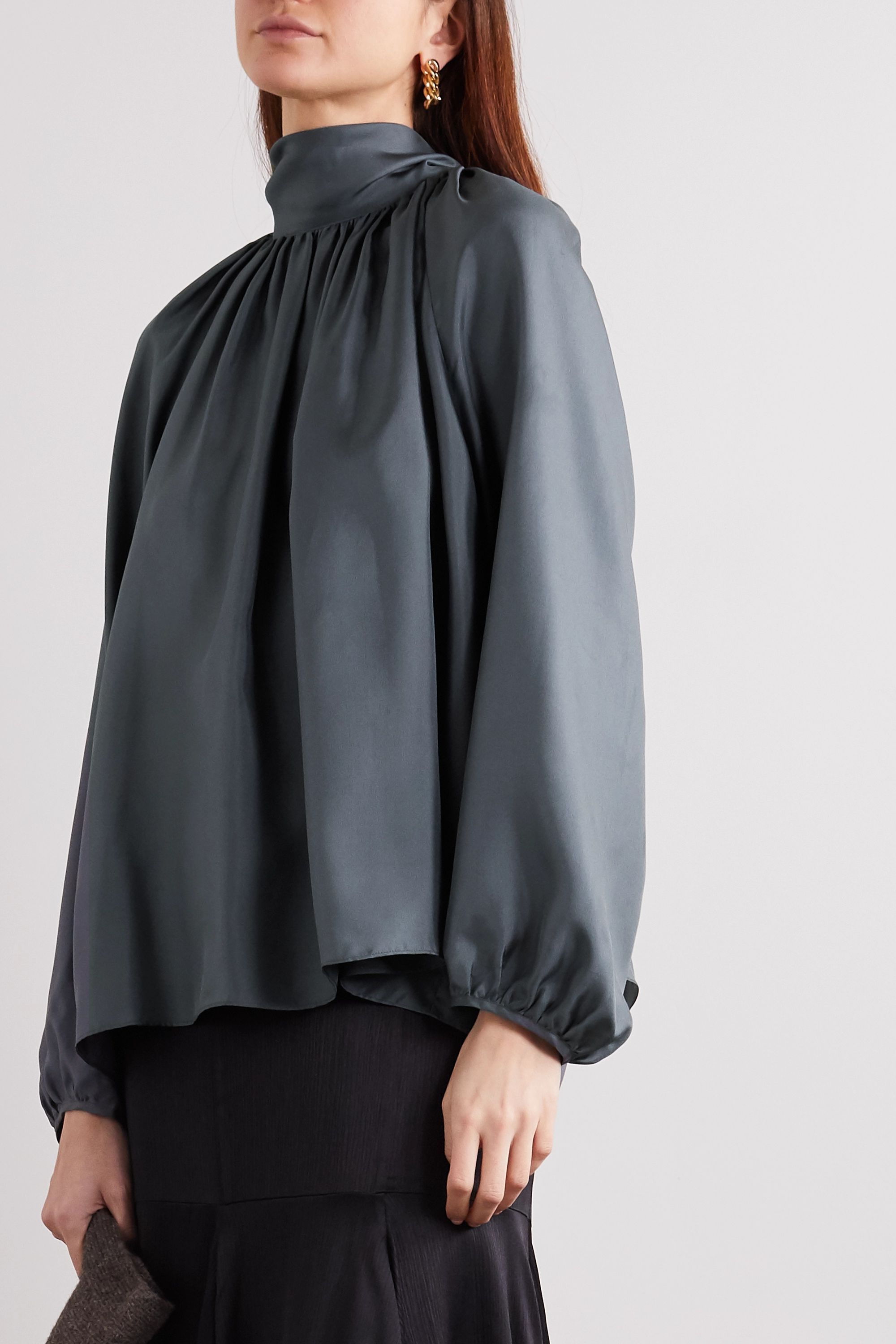 TOVE Rey tie-detailed gathered silk-twill blouse