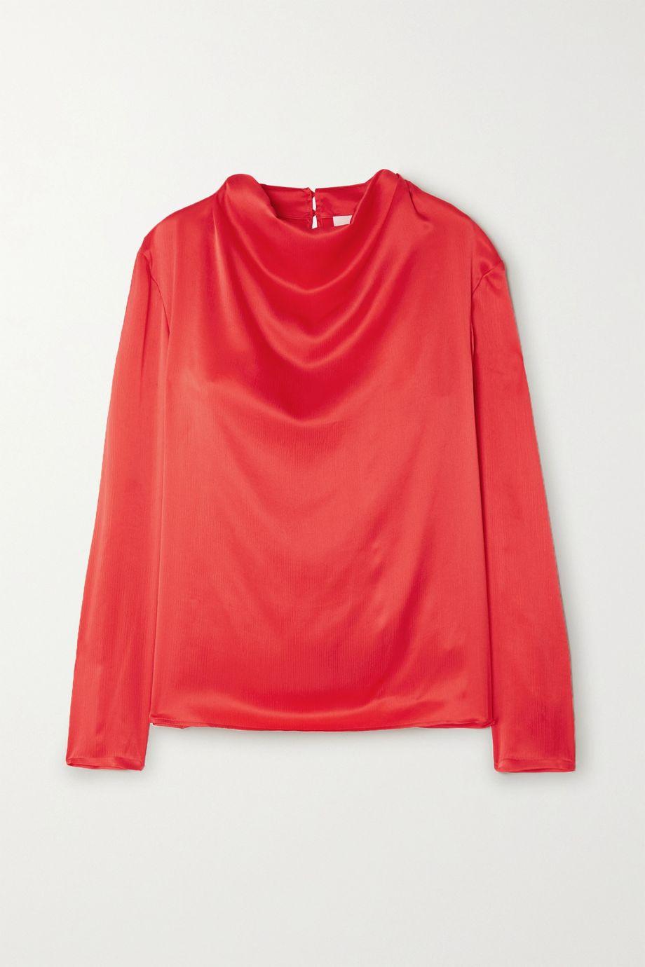 TOVE Leone draped crinkled silk-satin top