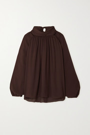TOVE Wren gathered silk-georgette blouse
