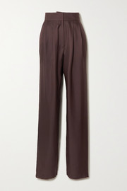TOVE Remi pleated silk-satin tapered pants