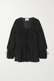 TOVE Deia gathered silk-georgette blouse