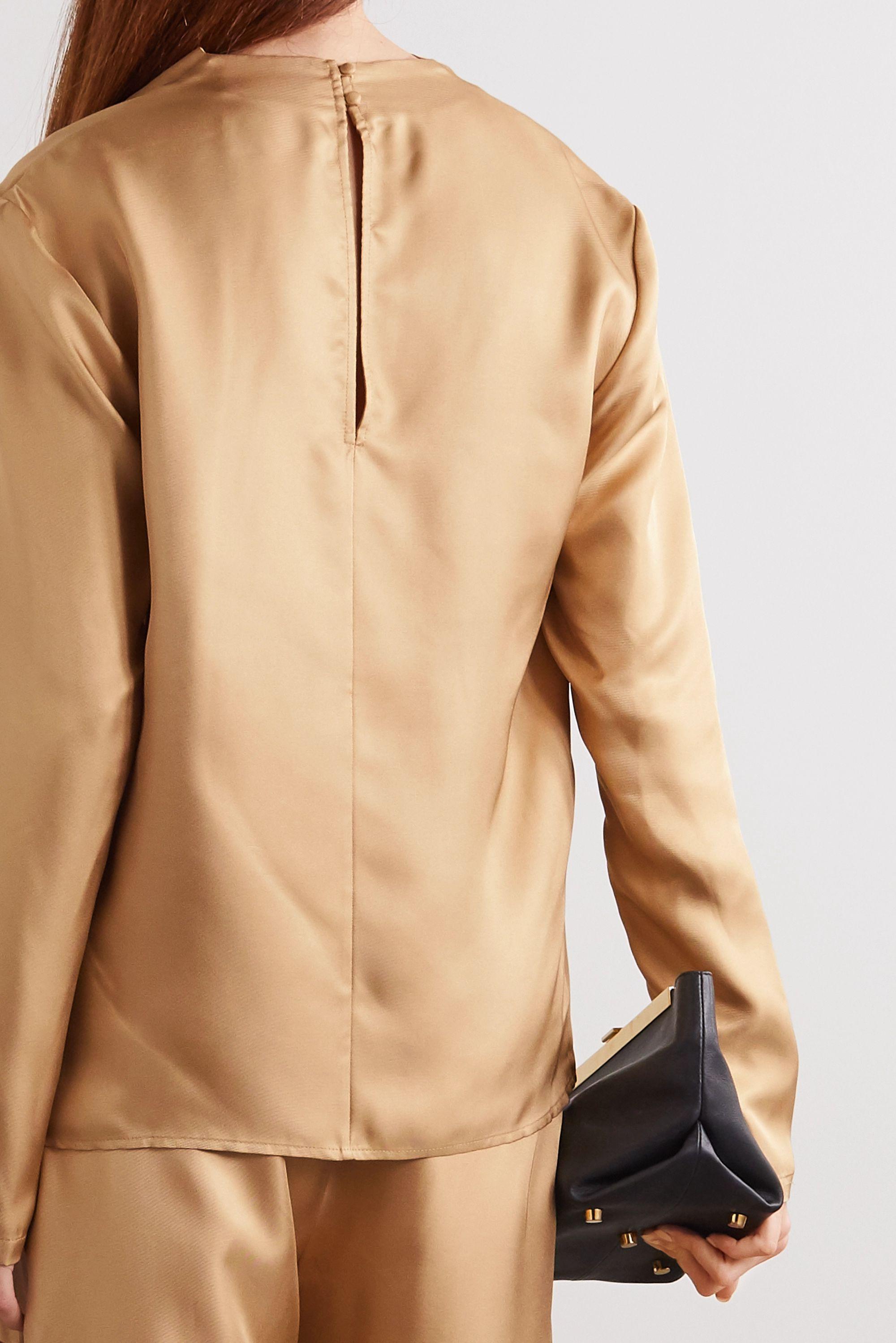 TOVE Leone draped silk-twill top