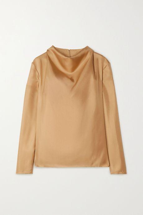 Gold Leone draped silk-twill top | TOVE dJw0g1