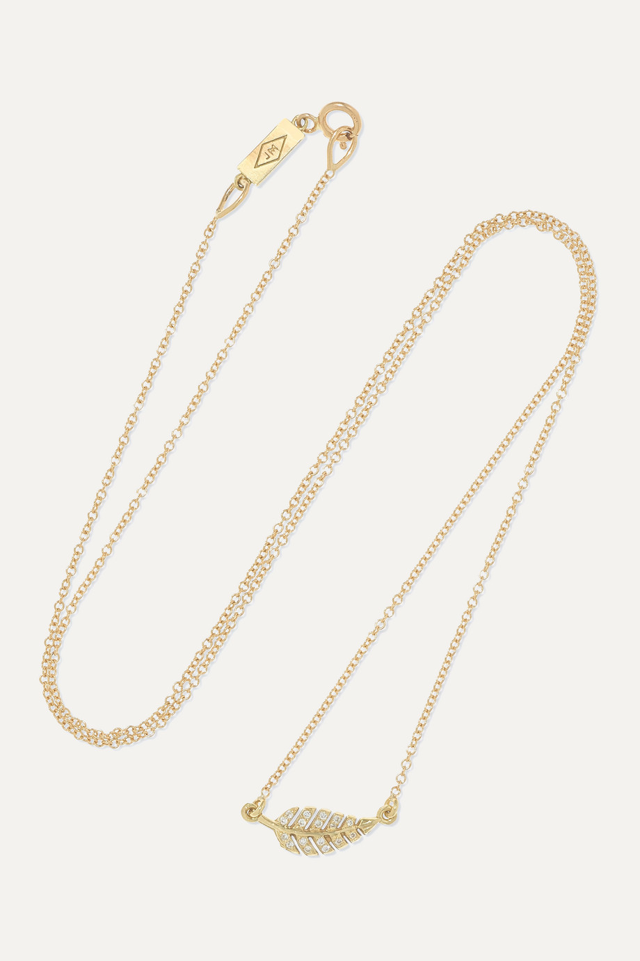 Jennifer Meyer Mini Leaf 18-karat gold diamond necklace
