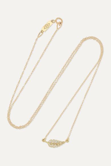 Mini Leaf 18 Karat Gold Diamond Necklace by Jennifer Meyer