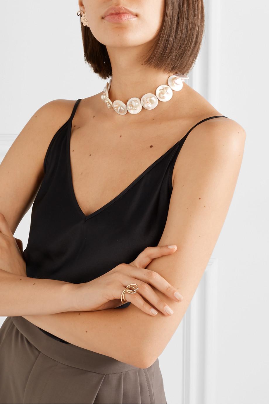 Anita Berisha Gold-tone pearl choker