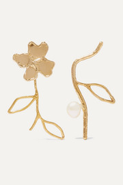 Petals and Branches gold-tone pearl earrings