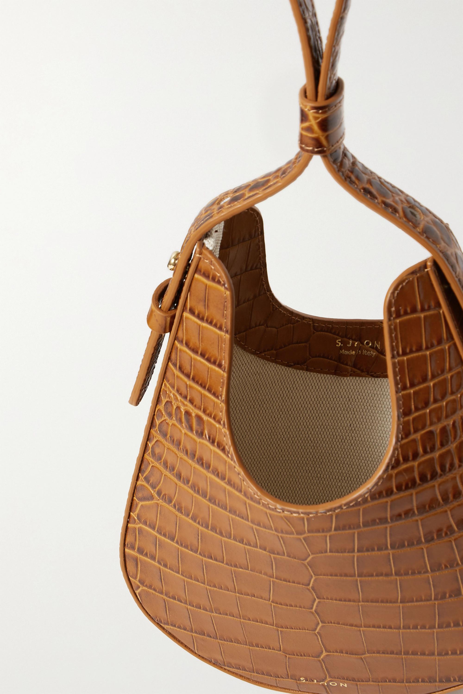 S.Joon Teardrop croc-effect leather tote