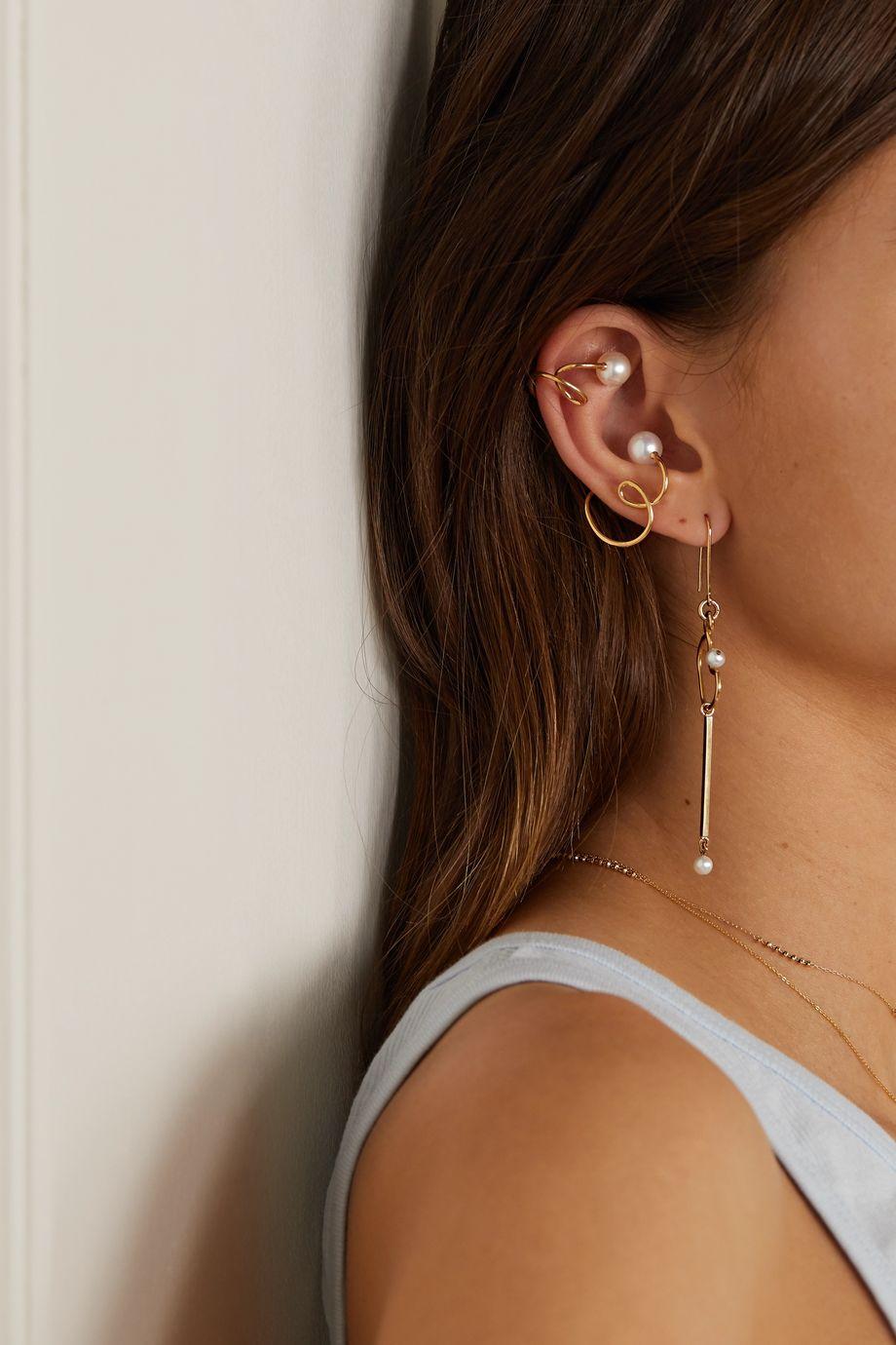 SARAH & SEBASTIAN Buoy gold vermeil pearl ear cuffs
