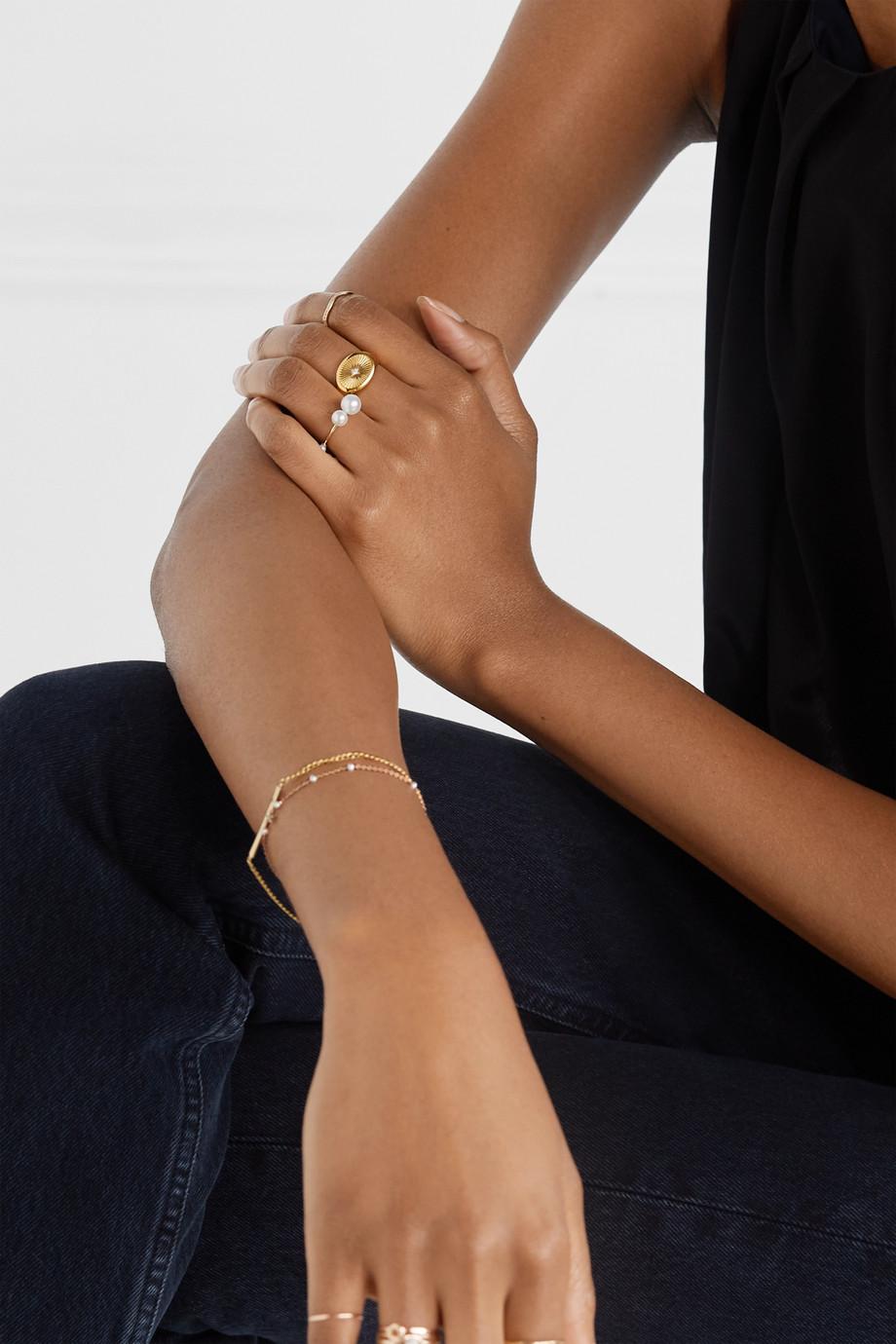 SARAH & SEBASTIAN Buoy Ring aus 10 Karat Gold mit Perlen
