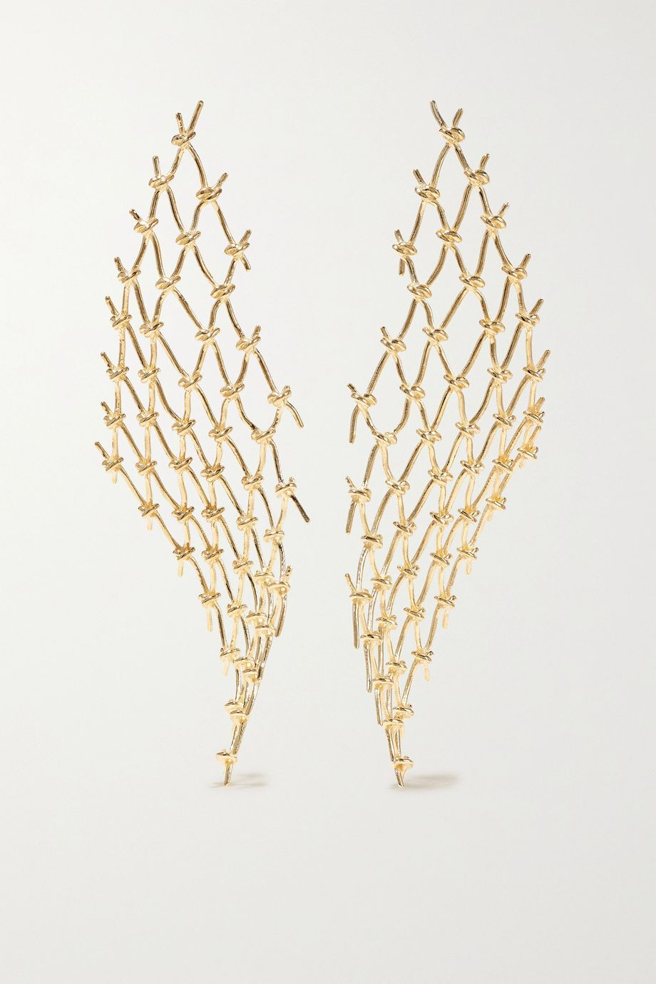 SARAH & SEBASTIAN Large Net gold vermeil earrings
