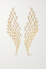 Large Net gold vermeil earrings