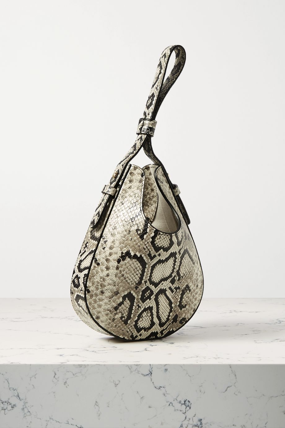 S.Joon Teardrop python-effect leather tote